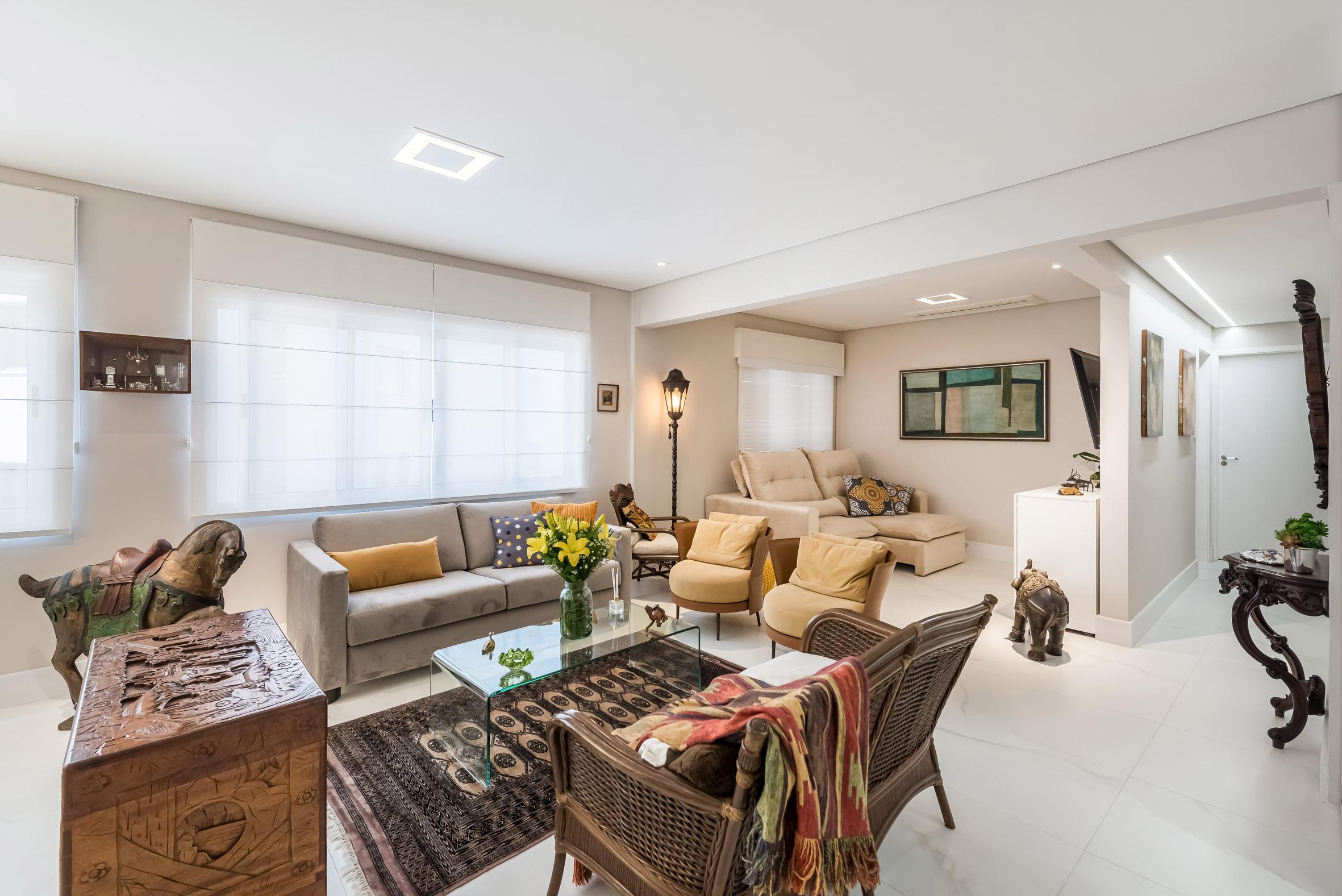 Confira transformação de apartamento de 125 m² com toque de arte, modernidade e iluminação sofisticada